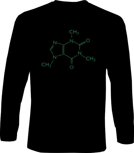 Langarm-Shirt - Koffein Molekül